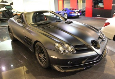 Matte Black Mercedes-Benz SLR McLaren 722 S Roadster On Display In Dubai