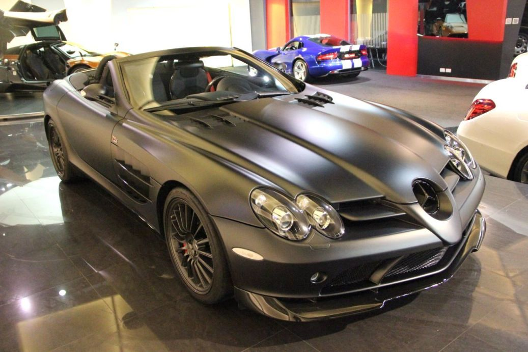 1 Matte Black Mercedes Benz SLR McLaren 722 S Roadster On Display In Dubai
