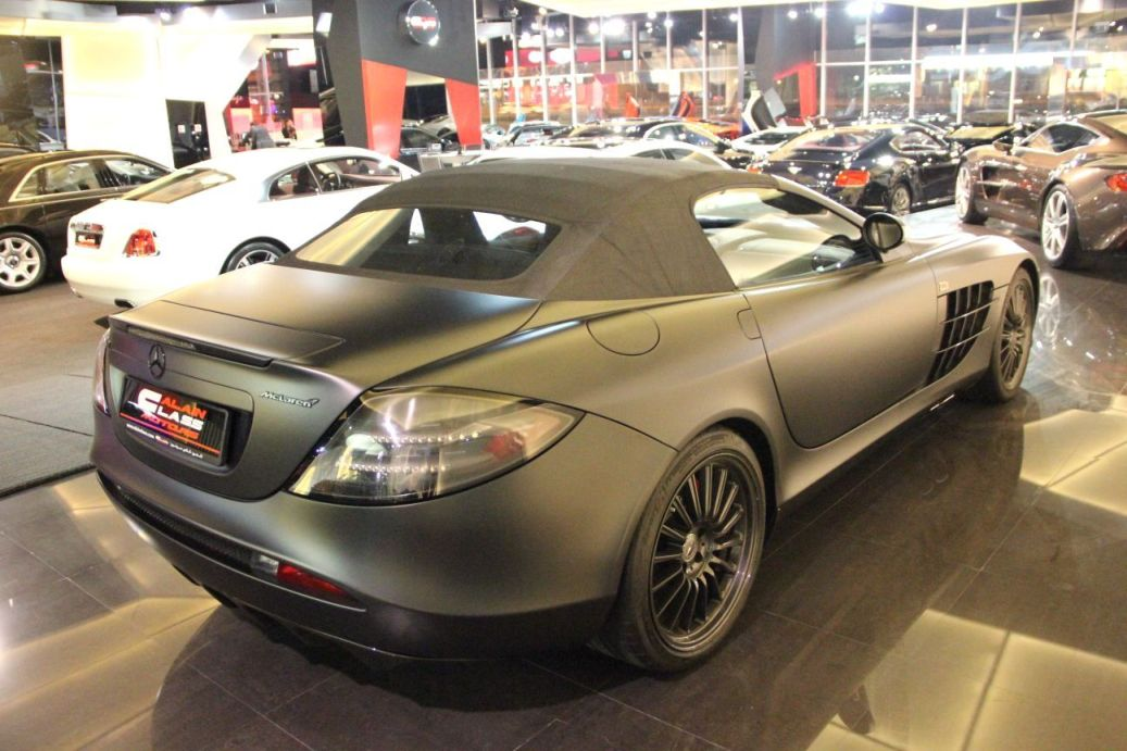 Matte Black Mercedes Benz Slr Mclaren 722 S Roadster On Display In