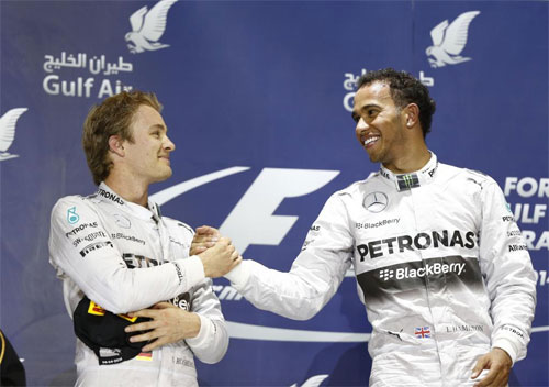 Mercedes AMG Petronas F1 Lewis Hamilton wins Bahrain Grand Prix Nico Rosberg second 5 Rivalry Between Hamilton and Rosberg Brewing Up