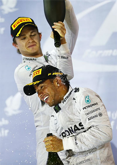 Mercedes AMG Petronas F1 Lewis Hamilton wins Bahrain Grand Prix Nico Rosberg second Mercedes Hamilton prevails in duel with Rosberg at the 2014 Bahrain Grand Prix