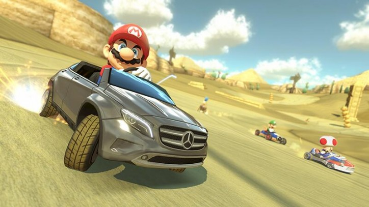 super mario driving the mercedes gla 724x407 Super Mario Rides the New Mercedes GLA