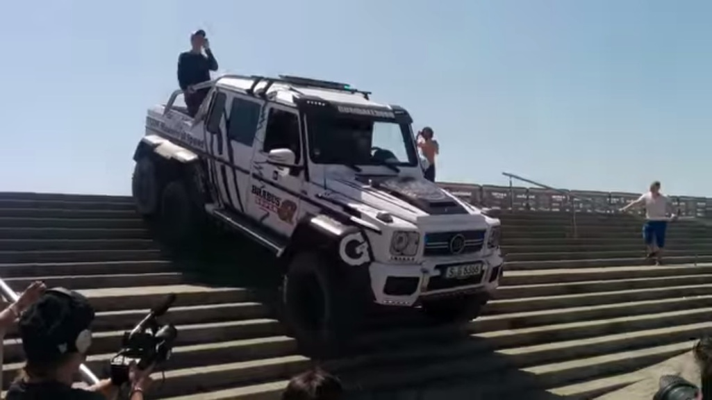 127 Barcelona Stairs Is No Match For The Mercedes Benz G63 AMG 6×6