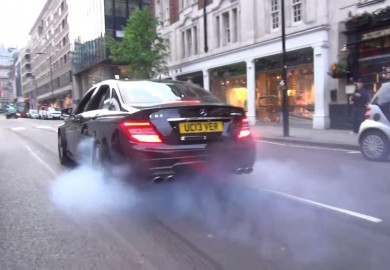 Mercedes-Benz C63 AMG Burns Rubber In London