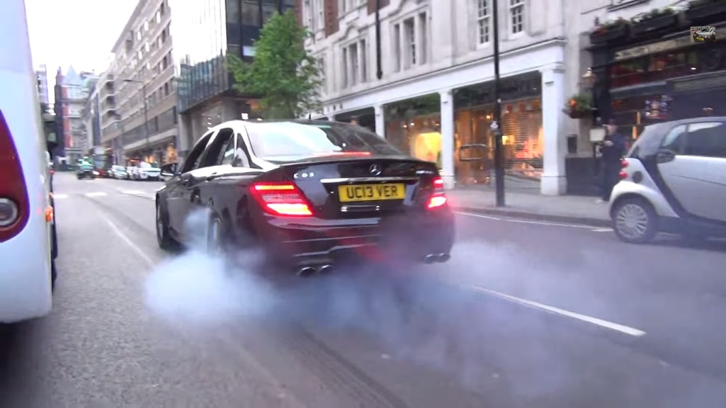 312 Mercedes Benz C63 AMG Burns Rubber In London