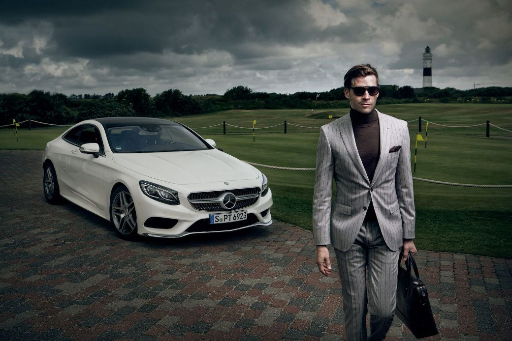 new mercedes benz s500 coupe featured on photo shoot with hugo boss a. Black Bedroom Furniture Sets. Home Design Ideas