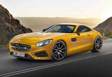 A yellow AMG GT render.