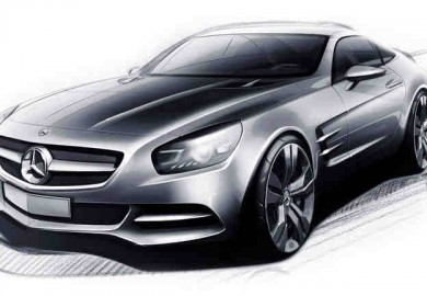 An artist's rendering of the Mercedes AMG GT based on its official sketch.