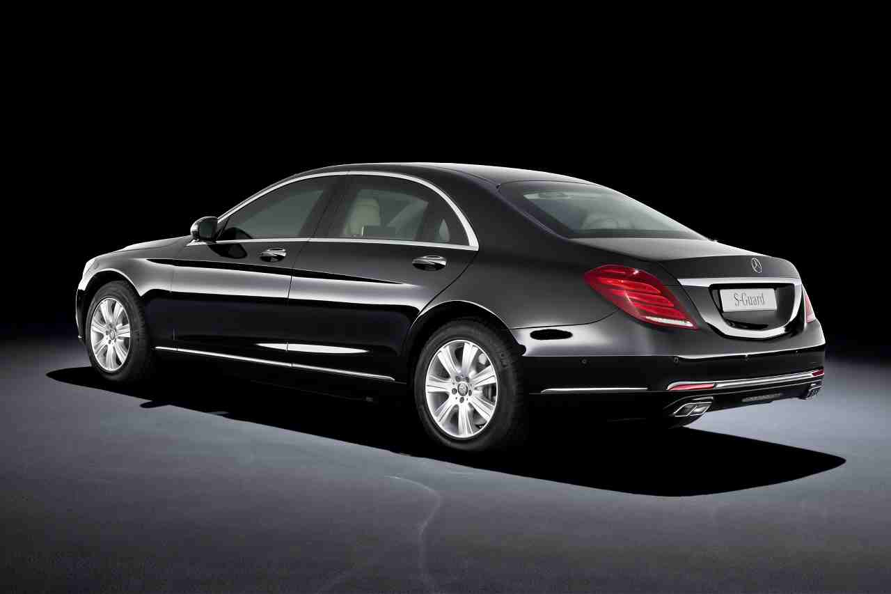 check out this shiny black armored mercedes benz s600