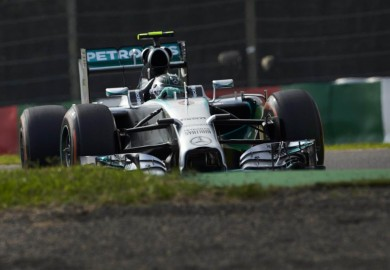 Mercedes driver Nico Rosberg in qualifying at the 2014 Japanese Grand Prix