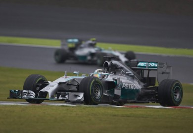 Mercedes drivers Lewis Hamilton and Nico Rosberg in action at the 2014 Japanese Grand Prix