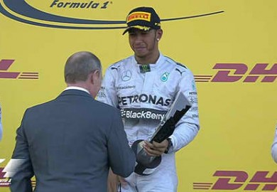putin awards trophy to hamilton