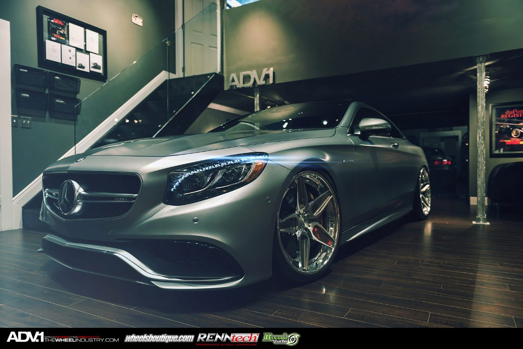 Adv 1 Wheels Enhances Matte Grey Mercedes Benz S63 Amg