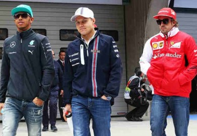 hamilton with alonso and bottas