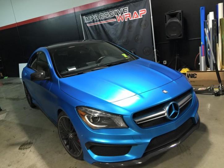 Mercedes Cla45 Amg Gets A Satin Ocean Blue Wrap