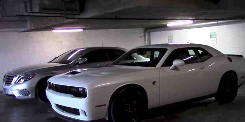mercedes s65 amg vs challenger hellcat screaming contest