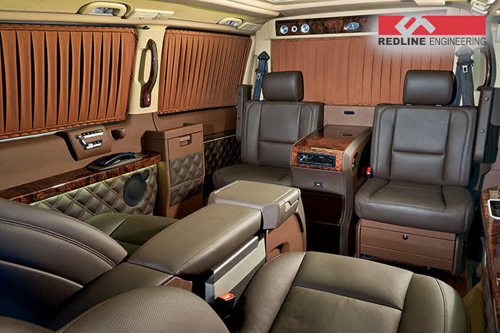 redline gives the mercedes benz viano an amazing interior. Black Bedroom Furniture Sets. Home Design Ideas
