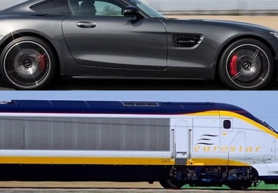 mercedes-amg gt s vs train