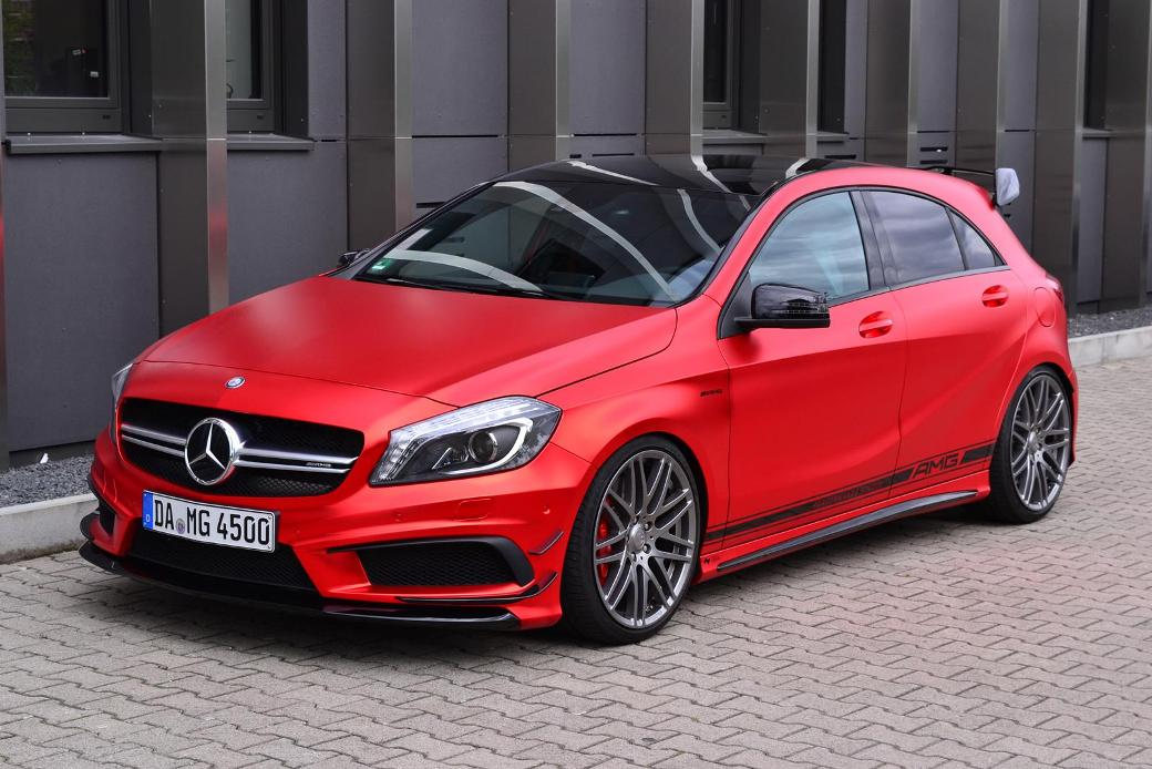Painting the town with a red wrapped mercedes benz a45 amg for Mercedes benz red