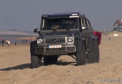 Watch A Mercedes-Benz G63 AMG 6x6 Perform Drifting Maneuvers At The Beach