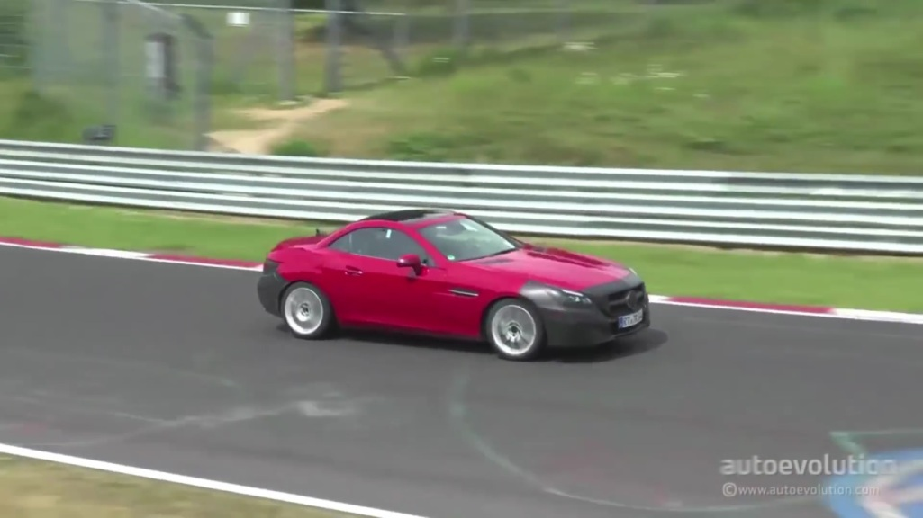 Camouflaged Red Mercedes-Benz SLC Seen At Nürburgring