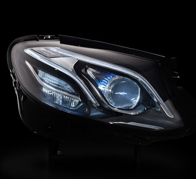 Video mercedes benz e class multibeam led headlamps for Led light for mercedes benz