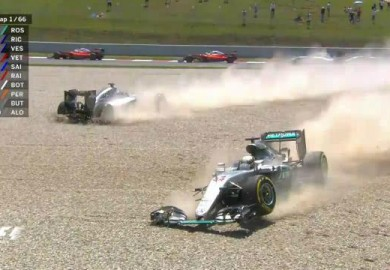 mercedes f1 collission