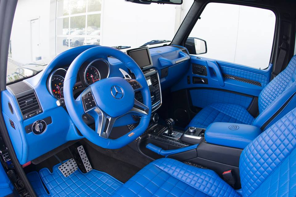 blue interior of brabus mercedes benz g500 4x4 highlighted a mercedes benz. Black Bedroom Furniture Sets. Home Design Ideas