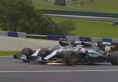 Hamilton and Rosberg crash