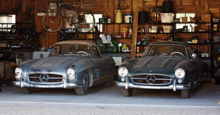 The two unrestored Mercedes-Benz 300 SL Roadster and Gullwing. (Photo Source: South West News Service)